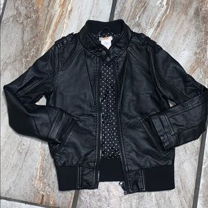 Girls Black Faux Leather Zip Up Jacket